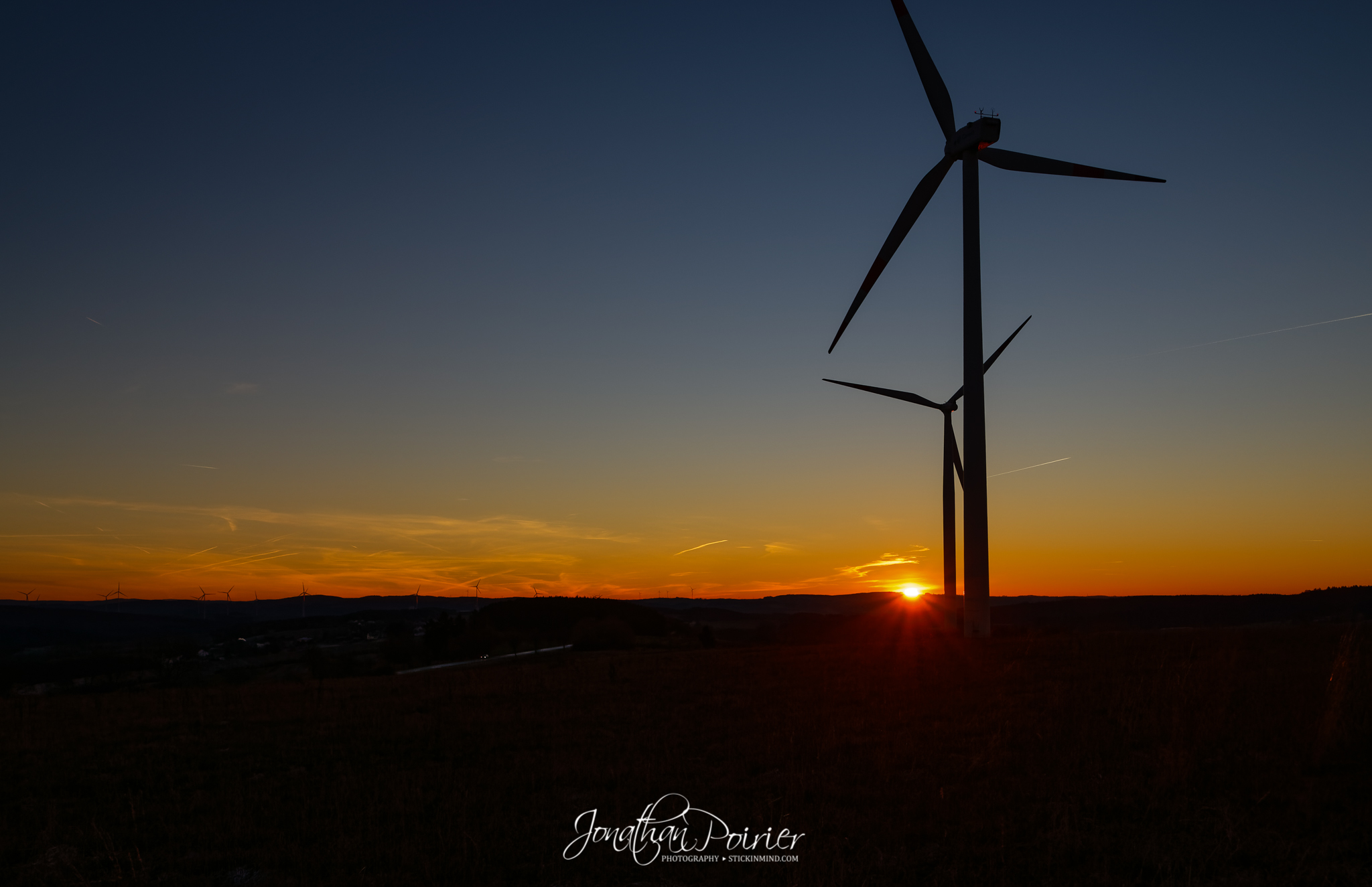 Sunrise over the wind turbines